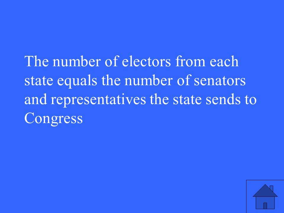 The number of electors from each state equals the number of senators and representatives the state sends to Congress