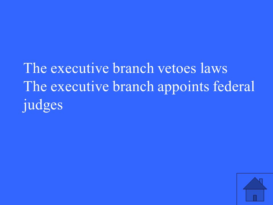 The executive branch vetoes laws The executive branch appoints federal judges