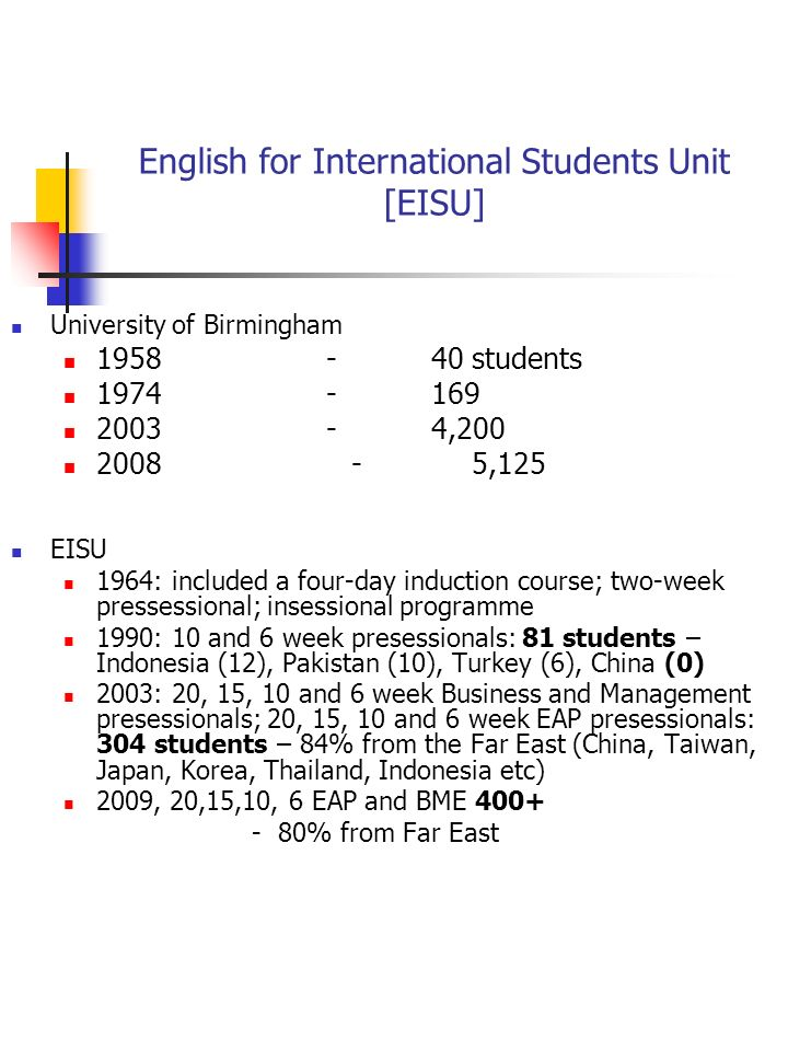 English for International Students Unit [EISU] University of Birmingham students , ,125 EISU 1964: included a four-day induction course; two-week pressessional; insessional programme 1990: 10 and 6 week presessionals: 81 students – Indonesia (12), Pakistan (10), Turkey (6), China (0) 2003: 20, 15, 10 and 6 week Business and Management presessionals; 20, 15, 10 and 6 week EAP presessionals: 304 students – 84% from the Far East (China, Taiwan, Japan, Korea, Thailand, Indonesia etc) 2009, 20,15,10, 6 EAP and BME % from Far East