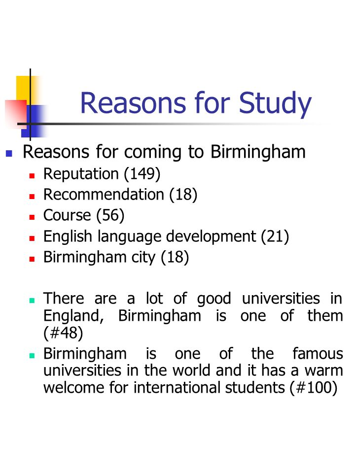 Reasons for Study Reasons for coming to Birmingham Reputation (149) Recommendation (18) Course (56) English language development (21) Birmingham city (18) There are a lot of good universities in England, Birmingham is one of them (#48) Birmingham is one of the famous universities in the world and it has a warm welcome for international students (#100)