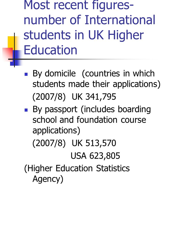 Most recent figures- number of International students in UK Higher Education By domicile (countries in which students made their applications) (2007/8) UK 341,795 By passport (includes boarding school and foundation course applications) (2007/8) UK 513,570 USA 623,805 (Higher Education Statistics Agency)