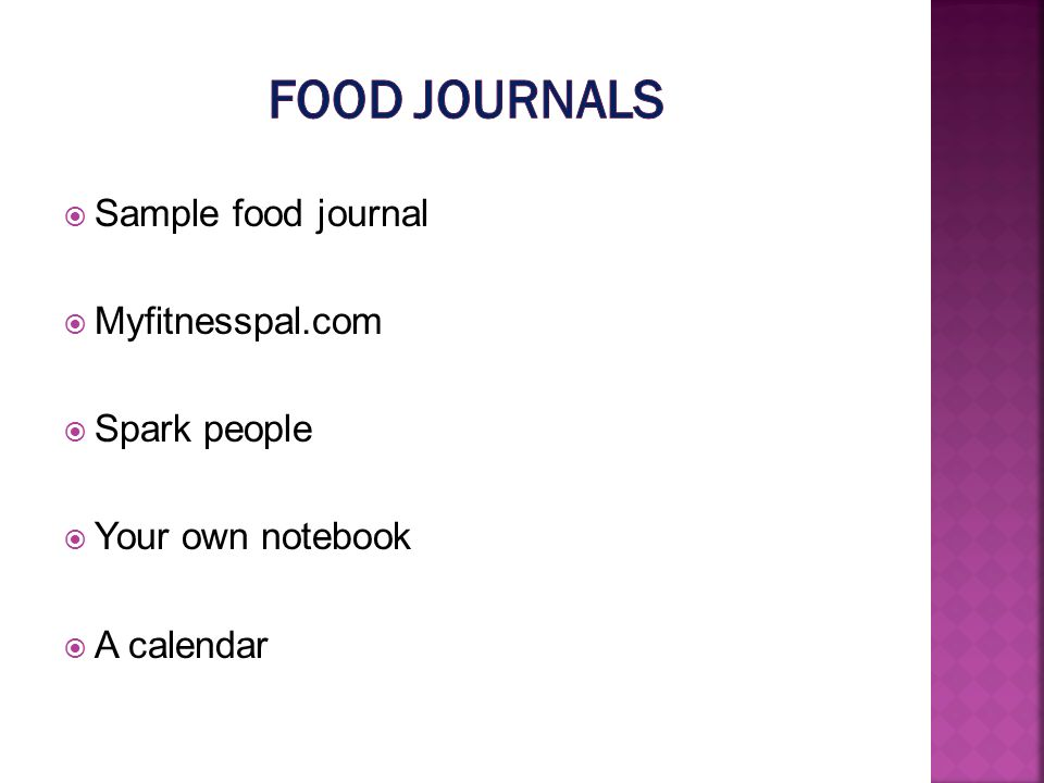 Sample food journal Myfitnesspal.com Spark people Your own notebook A calendar