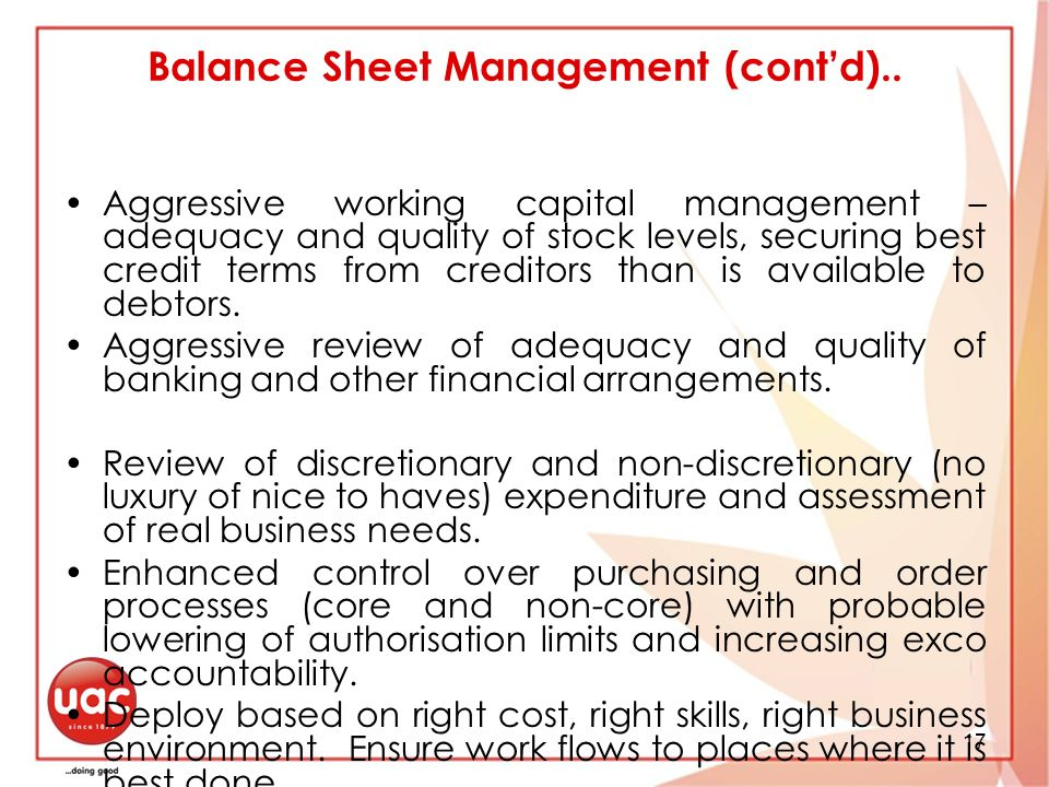 17 Balance Sheet Management (contd)..