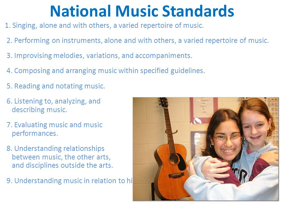 National Music Standards 1. Singing, alone and with others, a varied repertoire of music.