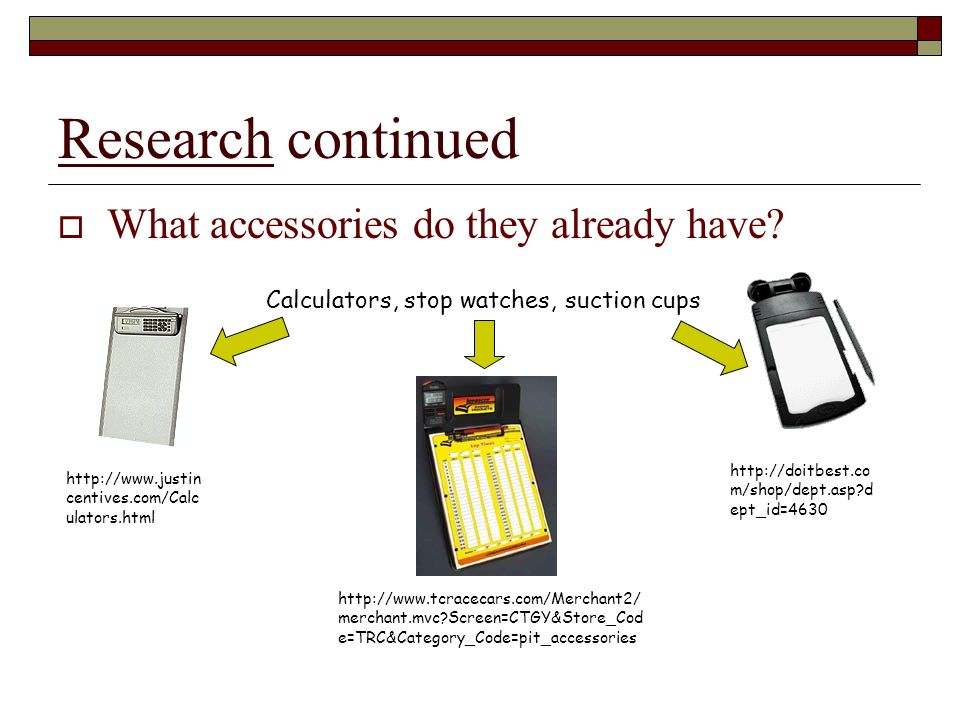 Research continued What accessories do they already have.