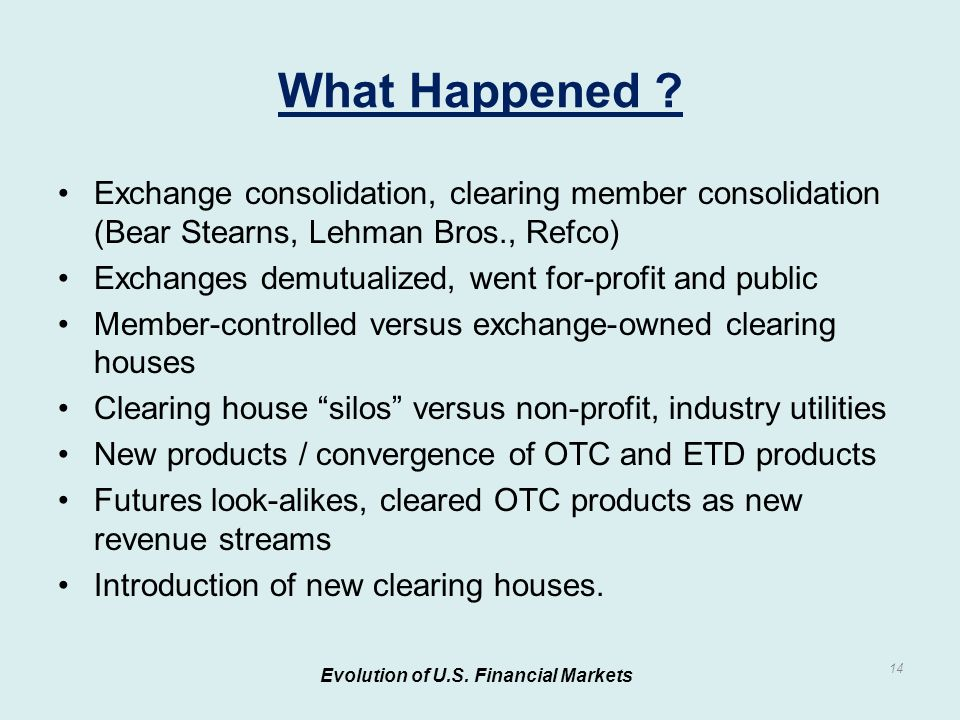 Exchange consolidation, clearing member consolidation (Bear Stearns, Lehman Bros., Refco) Exchanges demutualized, went for-profit and public Member-controlled versus exchange-owned clearing houses Clearing house silos versus non-profit, industry utilities New products / convergence of OTC and ETD products Futures look-alikes, cleared OTC products as new revenue streams Introduction of new clearing houses.