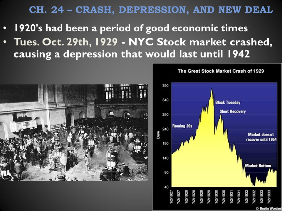 CH. 24 – CRASH, DEPRESSION, AND NEW DEAL 1920 s had been a period of good economic times Tues.