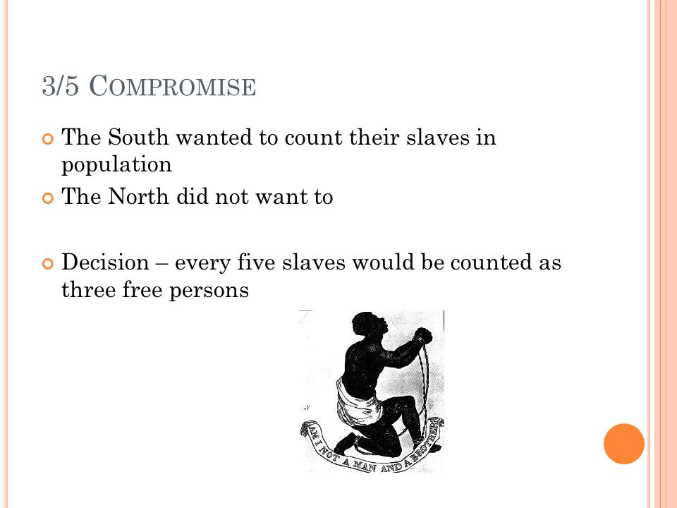 3/5 C OMPROMISE The South wanted to count their slaves in population The North did not want to Decision – every five slaves would be counted as three free persons