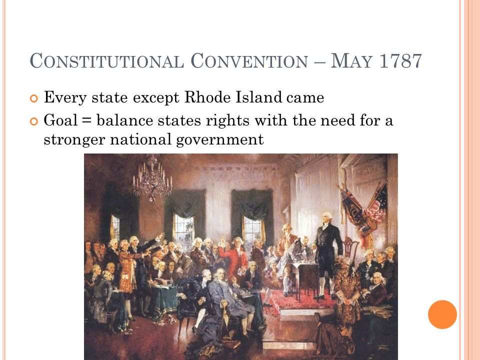 C ONSTITUTIONAL C ONVENTION – M AY 1787 Every state except Rhode Island came Goal = balance states rights with the need for a stronger national government