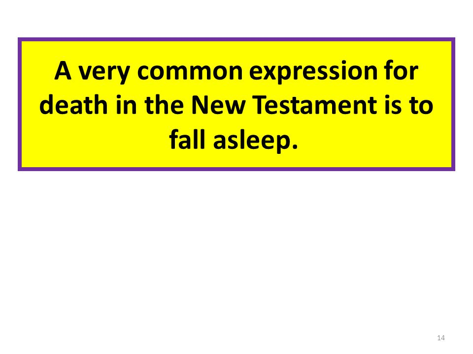 A very common expression for death in the New Testament is to fall asleep. 14