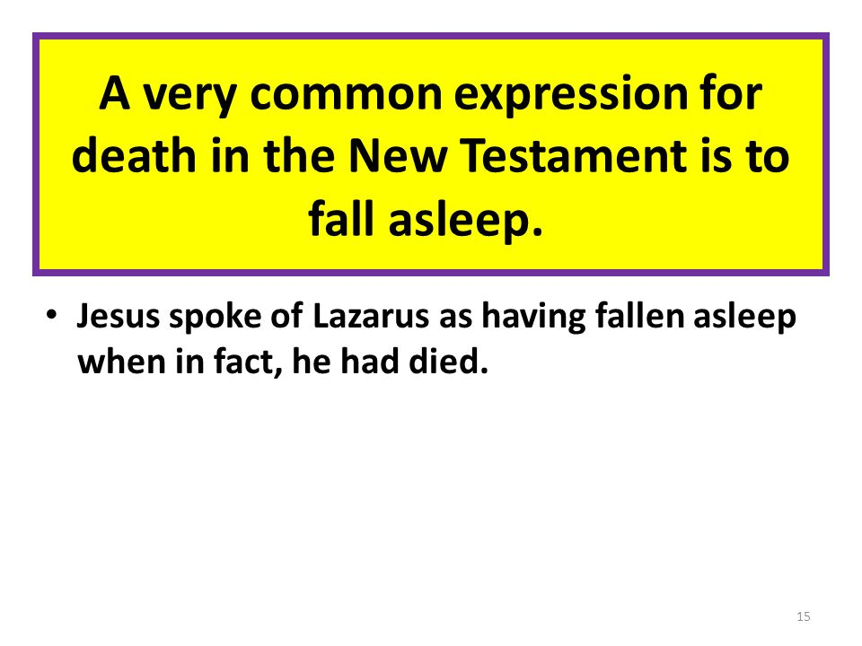 A very common expression for death in the New Testament is to fall asleep.
