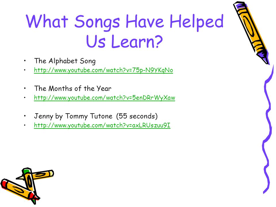 Songs Help Us Learn!  What Songs Have Helped Us Learn? The