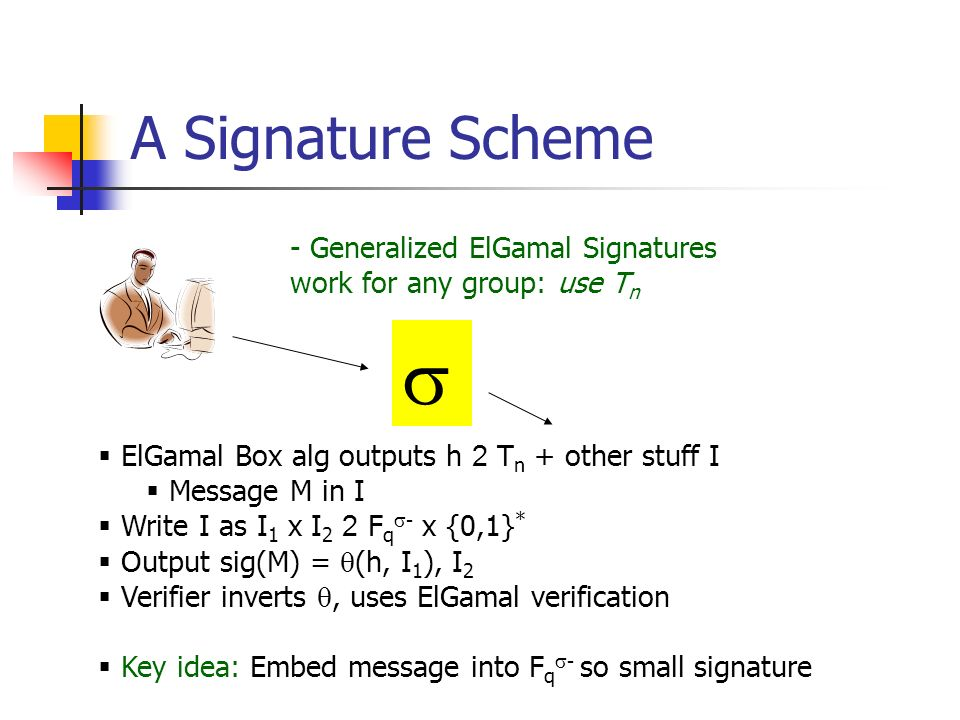 A Signature Scheme - Generalized ElGamal Signatures work for any group: use T n ElGamal Box alg outputs h 2 T n + other stuff I Message M in I Write I as I 1 x I 2 2 F q - x {0,1} * Output sig(M) = (h, I 1 ), I 2 Verifier inverts, uses ElGamal verification Key idea: Embed message into F q - so small signature