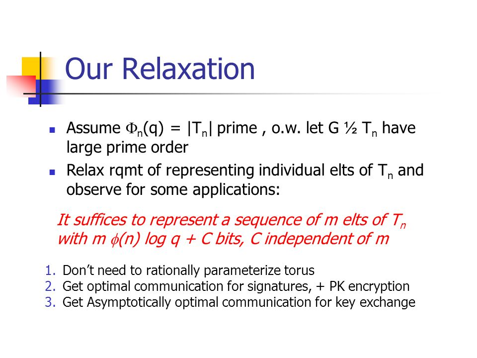 Our Relaxation 1.Dont need to rationally parameterize torus 2.Get optimal communication for signatures, + PK encryption 3.Get Asymptotically optimal communication for key exchange It suffices to represent a sequence of m elts of T n with m (n) log q + C bits, C independent of m Assume n (q) = |T n | prime, o.w.