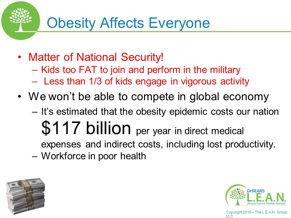 Copyright 2010 – The L.E.A.N. Group, LLC Obesity Affects Everyone Matter of National Security.