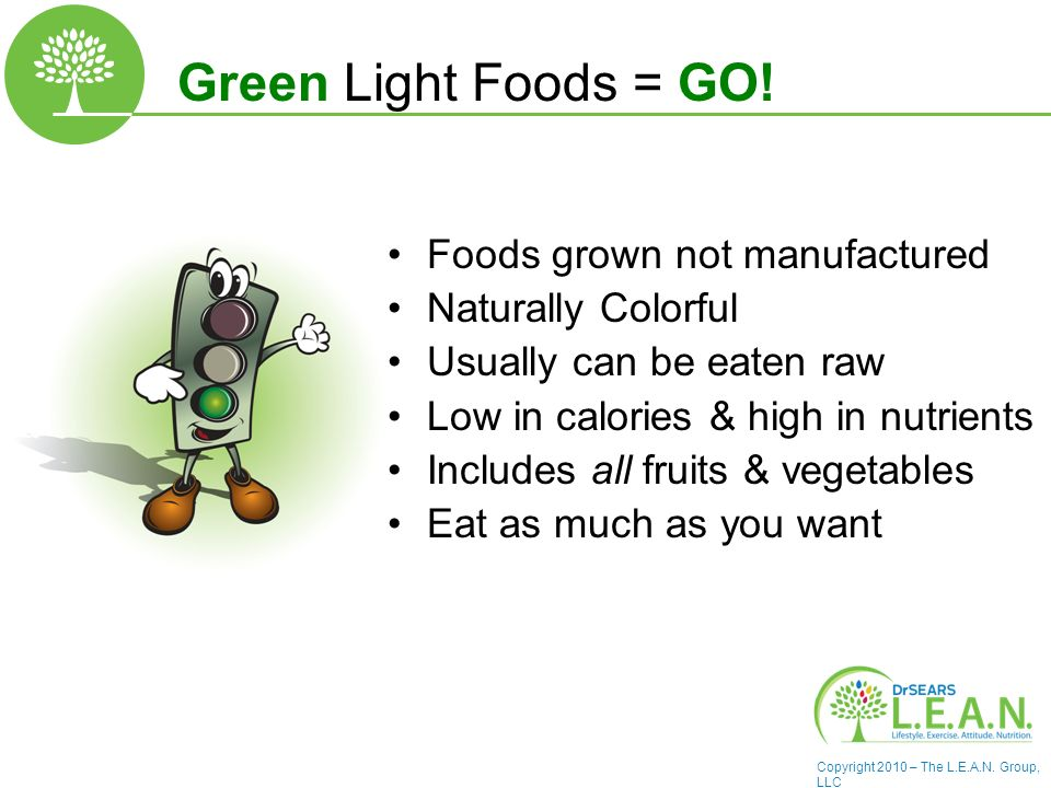 Copyright 2010 – The L.E.A.N. Group, LLC Green Light Foods = GO.