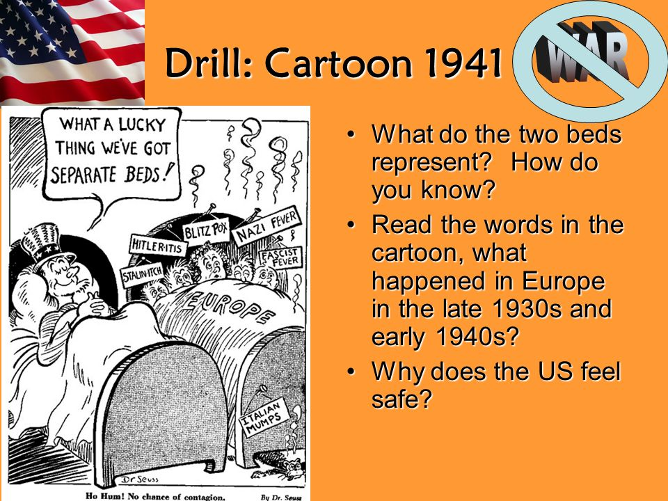 Drill: Cartoon 1941 What do the two beds represent.