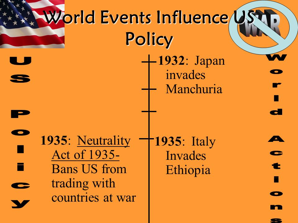 World Events Influence US Policy 1935: Neutrality Act of Bans US from trading with countries at war 1932: Japan invades Manchuria 1935: Italy Invades Ethiopia