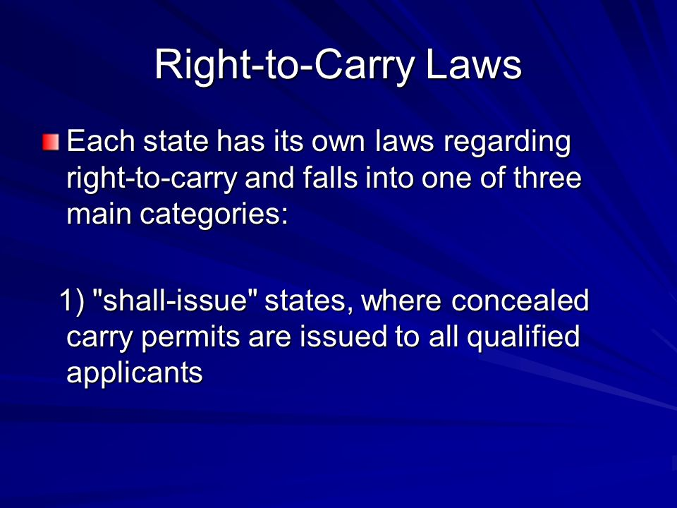 Right-to-Carry Laws Each state has its own laws regarding right-to-carry and falls into one of three main categories: 1) shall-issue states, where concealed carry permits are issued to all qualified applicants 1) shall-issue states, where concealed carry permits are issued to all qualified applicants