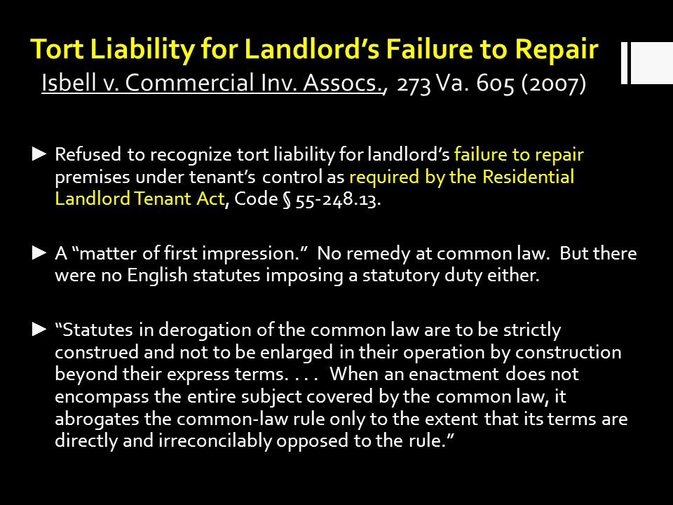 Tort Liability for Landlords Failure to Repair Isbell v.