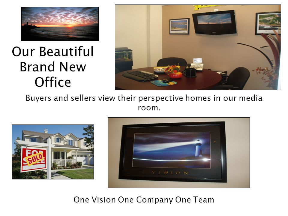 Our Beautiful Brand New Office Buyers and sellers view their perspective homes in our media room.