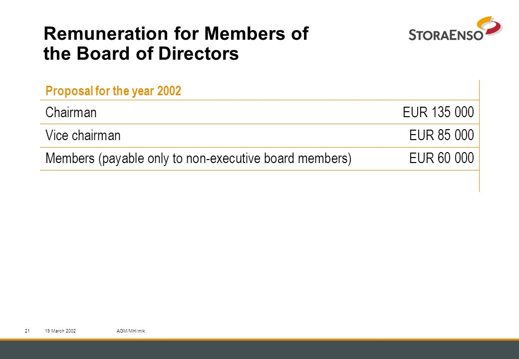 19 March 2002AGM/MH/mik21 Remuneration for Members of the Board of Directors Proposal for the year 2002 Chairman EUR 135 000 Vice chairmanEUR 85 000 Members (payable only to non-executive board members)EUR 60 000