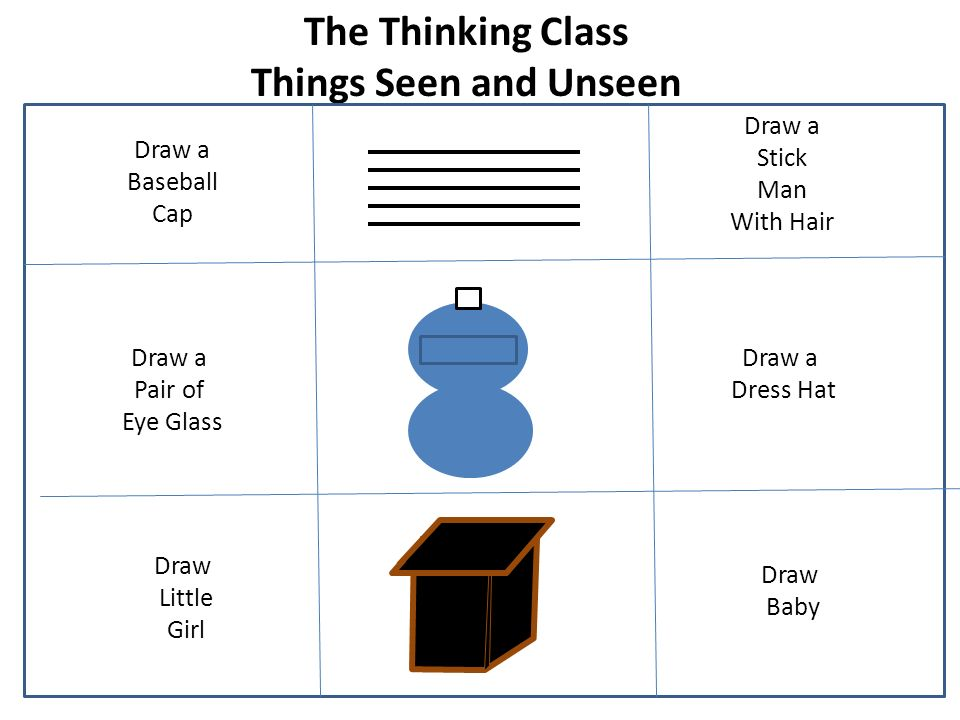 The Thinking Class Things Seen and Unseen Draw a Baseball Cap Draw a Dress Hat Draw Baby Draw Little Girl Draw a Stick Man With Hair Draw a Pair of Eye Glass