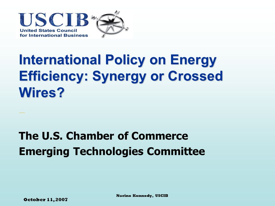 October 11, 2007 Norine Kennedy, USCIB International Policy on Energy Efficiency: Synergy or Crossed Wires.