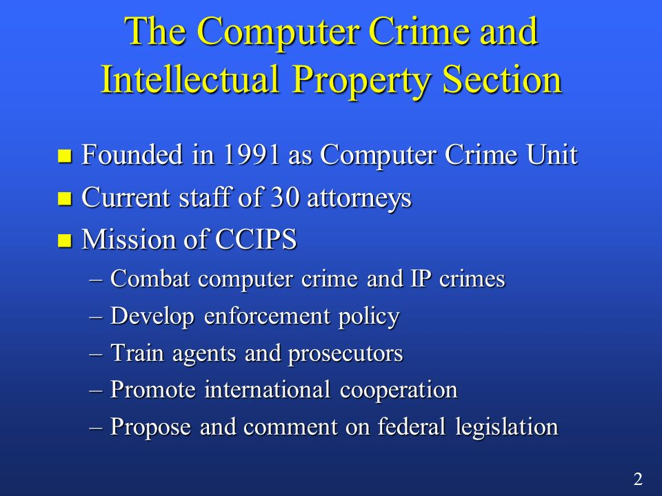 1 Online Criminal Investigations: The USA Patriot Act, ECPA, and Beyond Mark Eckenwiler Computer Crime and Intellectual Property Section U.S.