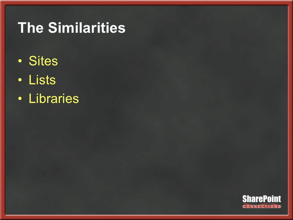 The Similarities Sites Lists Libraries