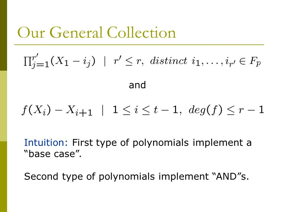 Our General Collection and Intuition: First type of polynomials implement a base case.