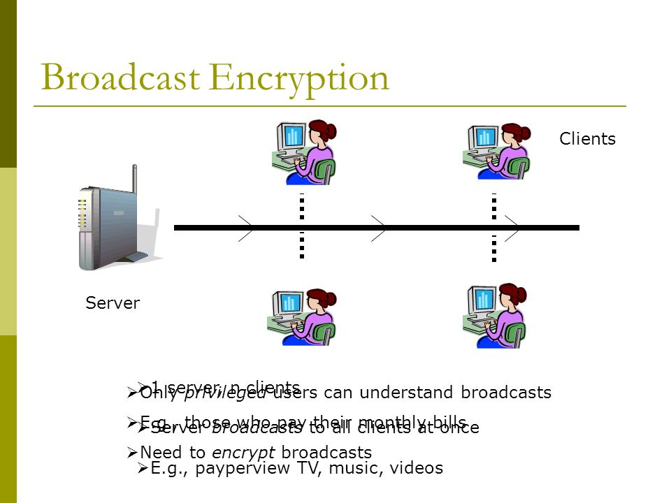 Broadcast Encryption Server Clients 1 server, n clients Server broadcasts to all clients at once E.g., payperview TV, music, videos Only privileged users can understand broadcasts E.g., those who pay their monthly bills Need to encrypt broadcasts