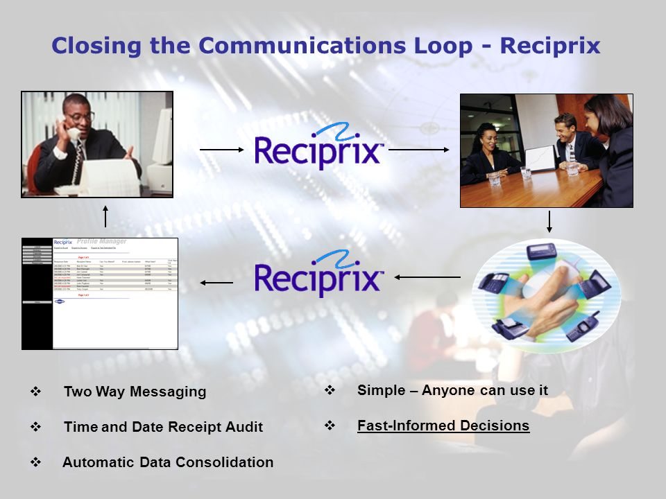 Closing the Communications Loop - Reciprix Two Way Messaging Time and Date Receipt Audit Automatic Data Consolidation Simple – Anyone can use it Fast-Informed Decisions