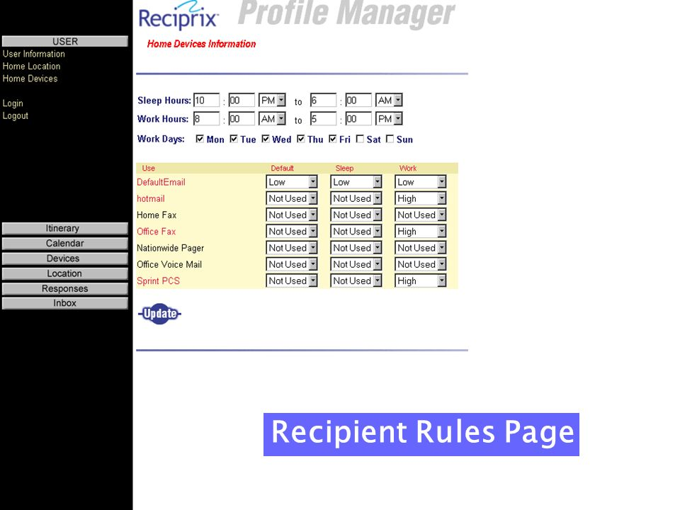 Recipient Rules Page