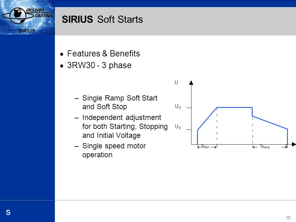 Automation and Drives s SIRIUS 10 SIRIUS s SIRIUS Soft Starts Features & Benefits 3RW phase –Single Ramp Soft Start and Soft Stop –Independent adjustment for both Starting, Stopping and Initial Voltage –Single speed motor operation t Ran t USUS UNUN U t Raus