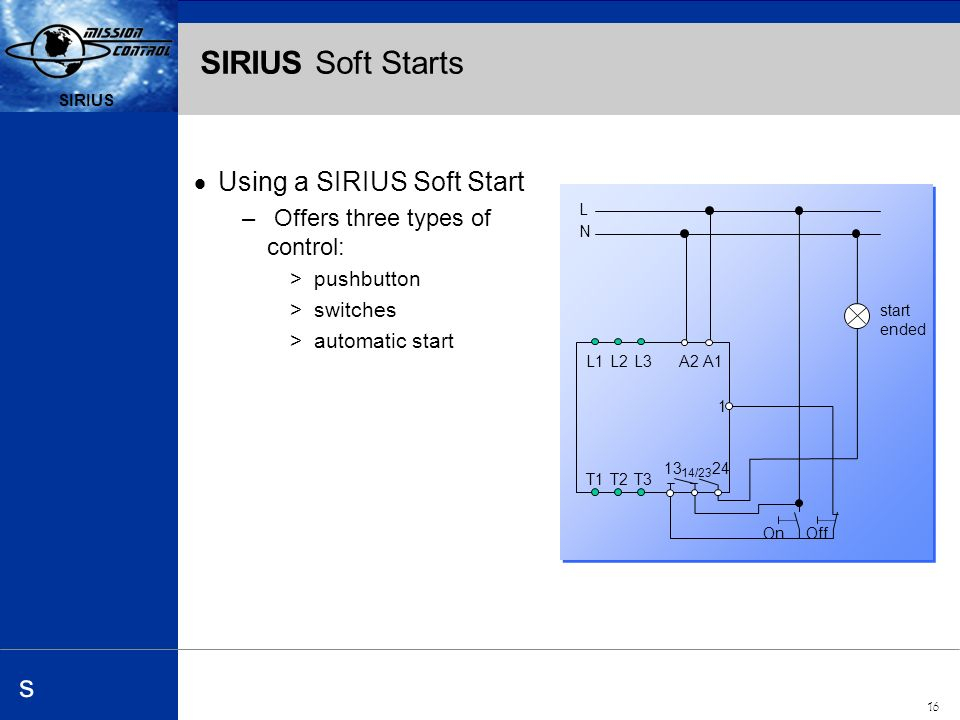 Automation and Drives s SIRIUS 16 SIRIUS s SIRIUS Soft Starts Using a SIRIUS Soft Start – Offers three types of control: >pushbutton >switches >automatic start L N L1L2L3 T1T2T /23 A2A1 1 On Off start ended