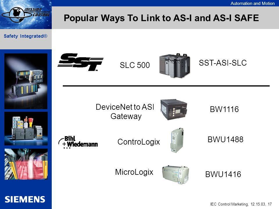 Automation and Motion IEC Control Marketing, , 17 Safety Integrated® SST-ASI-SLC BW1116 BWU1488 BWU1416 Popular Ways To Link to AS-I and AS-I SAFE SLC 500 DeviceNet to ASI Gateway ControLogix MicroLogix
