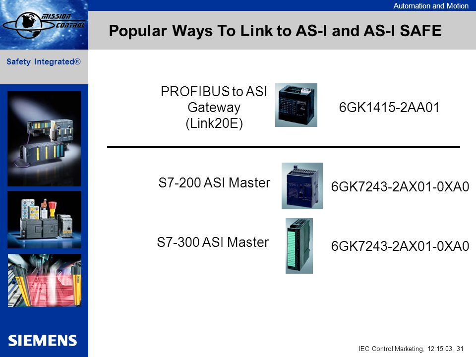 Automation and Motion IEC Control Marketing, , 31 Safety Integrated® 6GK1415-2AA01 6GK7243-2AX01-0XA0 Popular Ways To Link to AS-I and AS-I SAFE PROFIBUS to ASI Gateway (Link20E) S7-200 ASI Master S7-300 ASI Master 6GK7243-2AX01-0XA0