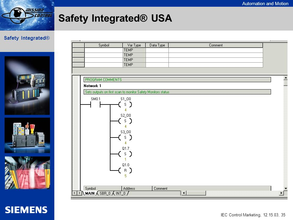 Automation and Motion IEC Control Marketing, , 35 Safety Integrated® Safety Integrated® USA