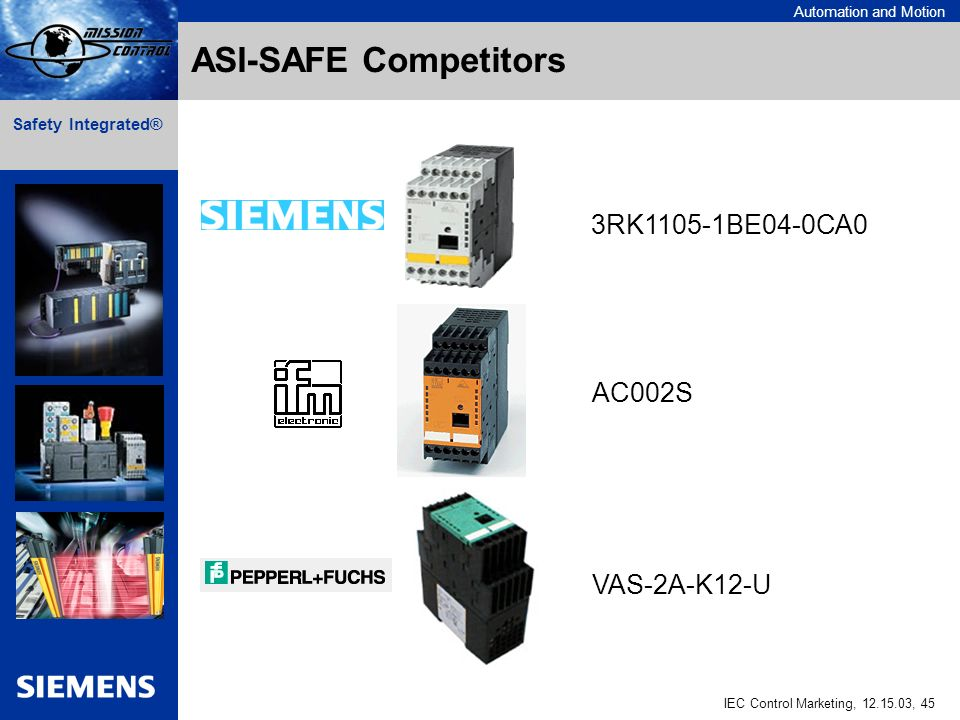 Automation and Motion IEC Control Marketing, , 45 Safety Integrated® ASI-SAFE Competitors AC002S VAS-2A-K12-U 3RK1105-1BE04-0CA0