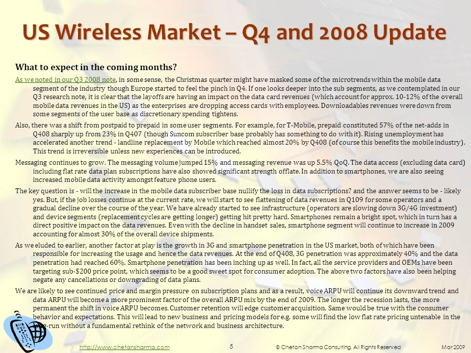 © Chetan Sharma Consulting, All Rights Reserved Mar 2009 5 http://www.chetansharma.com US Wireless Market – Q4 and 2008 Update What to expect in the coming months.