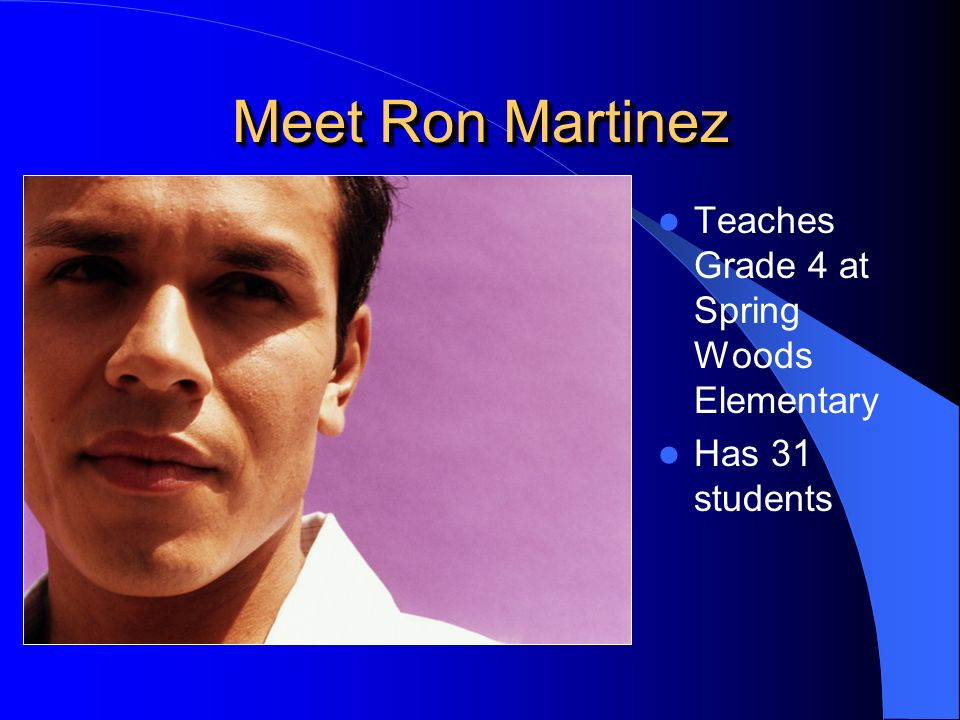 Teaches Grade 4 at Spring Woods Elementary Has 31 students Meet Ron Martinez