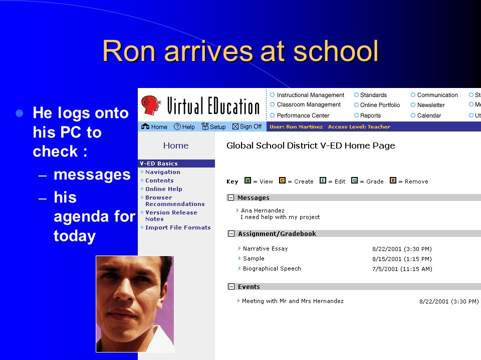 Ron arrives at school He logs onto his PC to check : – messages – his agenda for today