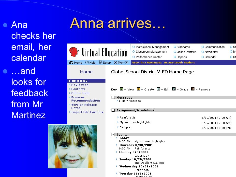 Anna arrives… Ana checks her  , her calendar …and looks for feedback from Mr Martinez