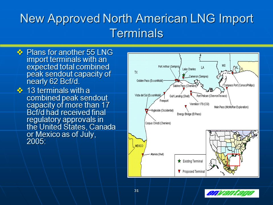 31 New Approved North American LNG Import Terminals Plans for another 55 LNG import terminals with an expected total combined peak sendout capacity of nearly 62 Bcf/d.