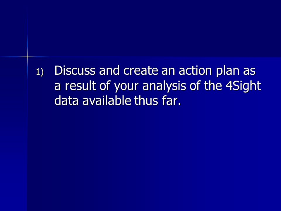 1) Discuss and create an action plan as a result of your analysis of the 4Sight data available thus far.