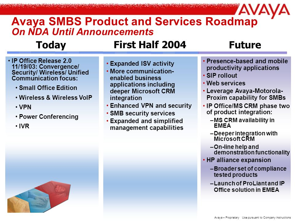 16 Avaya – Proprietary Use pursuant to Company instructions IP Office: Enabling SMBs to Evolve At Customer Path, Pace, and Choice IP Office: a simple solution for any SMB –PBX, Internet access, voice mail –PBX –Soft phones –Soft console* –Voice mail –Auto attendant –Unified messaging –Personal numbering –Conferencing,collaboration –Informal contact center application* –Contact center suite* –Contact center messaging apps –Microsoft CRM capability –Multimedia interaction and collaboration* –CTI –IVR* –TTS* –ISV developer program* Or, a feature- and applications-rich all-in-one solution delivering added value – and incremental revenue to the VAR - at the path, pace and choice of the increasingly sophisticated SMB: –Router –Internet access –LAN ports –WAN edge device –Remote access server –DHCP server –Firewall –VPN* –Wireless* –H.323 gateway –H.323 gatekeeper –--QSig* * =chargeable upgrade Pro version of many free apps also available