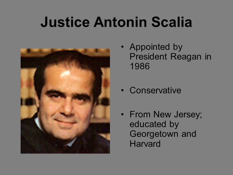 Justice Antonin Scalia Appointed by President Reagan in 1986 Conservative From New Jersey; educated by Georgetown and Harvard