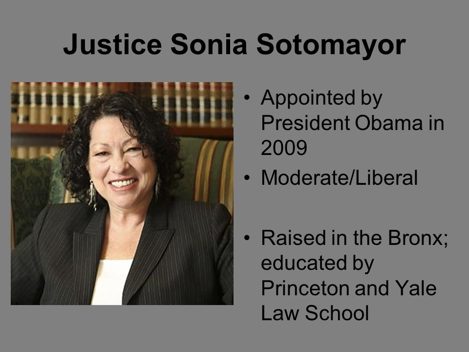 Justice Sonia Sotomayor Appointed by President Obama in 2009 Moderate/Liberal Raised in the Bronx; educated by Princeton and Yale Law School
