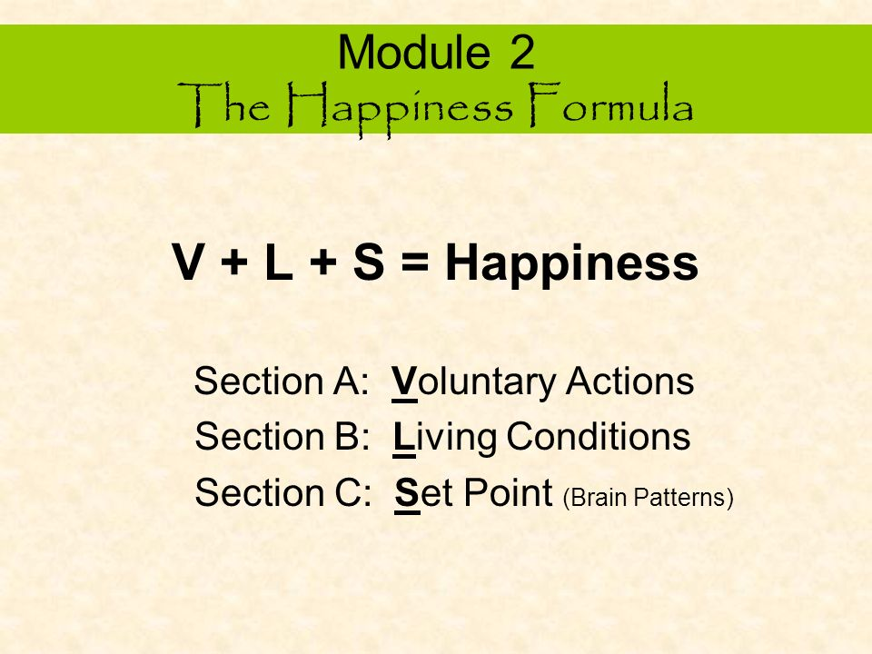 Module 2 The Happiness Formula Exponential Possibilities Happiness is a dynamic process of finding your center of self as it relates to the experience of reality around you.